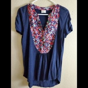 Postmark Anthropologie Floral Button Boho Blouse